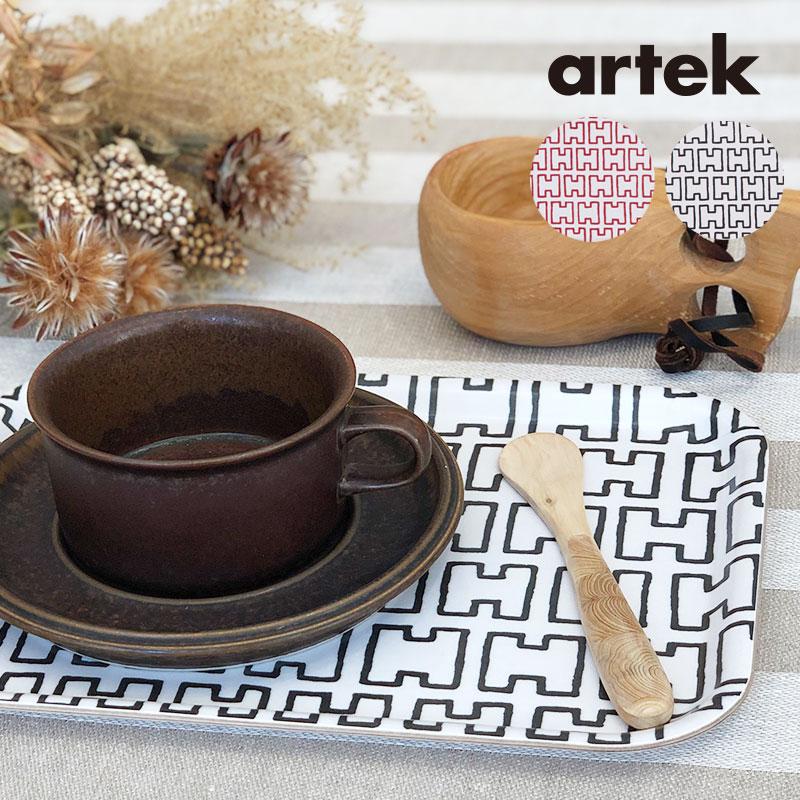 Artek (アルテック) トレイ(S) H55 おしゃれな北欧デザイン キッチン雑貨 トレー トレイ おぼん ギフト プレゼントにも人気 北欧を代表するアアルトデザイン 20*27cm 北欧スタイルのテーブルコーディネート ブラック/ホワイト レッド/ホワイト