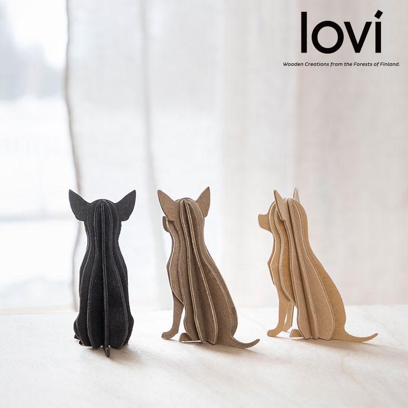 Lovi(ロヴィ)チワワ 6cm 北欧雑貨 オーナメントカード おしゃれな北欧プライウッド 白樺 フィンランドインテリア 置物 プレゼント ギフトに人気 Lovi日本総代理店 北欧インテリア雑貨 ちわわ 犬 DOG メッセージカード