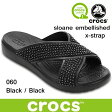 クロックス スローン エンベリッシュド エックスストラップ ウィメンズ crocs sloane embellished x-strap w's 204084 060 Black / Black サンダル 軽量 レディース ウィメンズ