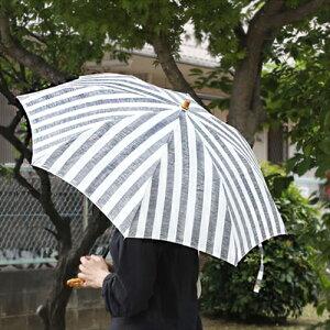 【SURMER日傘リネンリゾートストライプ太ストライプ長傘/折りたたみ傘】シュールメールファッション傘かさカサ折り畳み紫外線防止加工縞シュルメール■送料無料■