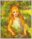 【送料無料】複製名画油絵 ルノワール作「草束を持つ少女」額付き 絵画サイズ: 30x40 cm