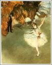【送料無料】複製名画油絵 ドガ作「舞台の踊り子 」額付き 絵画サイズ: 40x50 cm