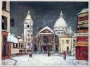 10P06jul13【RCP】【送料無料】お試し価格 複製名画油絵 ユトリロ作「雪のサンピエール広場」額付き 絵画サイズ: 20x30 cm