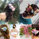 ウェディング髪飾り*ヘッドドレス*ヘアード*ヘアードレス*人気のドライフラワーも♪[プリザーブドフラワー][造花][かすみ草]