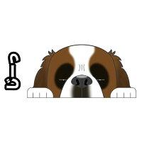 見てまステッカー犬セントバーナードステッカーセントバーナードラフコート車犬ステッカー窓玄関見てます犬種別名入れビッグサイズグッズドッグシールカーステッカー【セントバーナード】