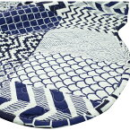 マルチカバー 刺繍 洗える 正方形 190×190 和柄 ブルーパッチ