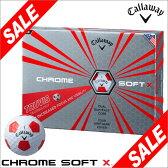 [2017年数量限定モデル] キャロウェイ CHROME SOFT X TRUVIS ホワイト/レッド ゴルフボール 1ダース(12球入り) 【あす楽対応】 [有賀園ゴルフ]