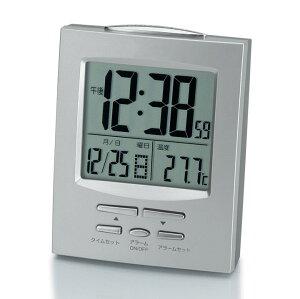目覚まし電波クロック シルバー NA-917目覚まし時計 ウォッチ カレンダー デジタル コンパクト 温度計 電波 アラーム 2度寝防止 アデッソ 【D】