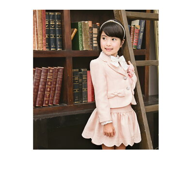 237083aad7abb ... 入学式 スーツ 女の子 子供服 卒園 115 120 130 ジャケット スカート ブラウス リボン コサージュ