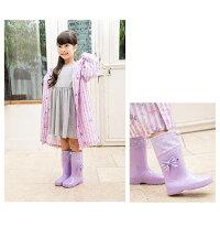 レインブーツフード付きキッズ長靴女の子子供用リボンピンクラベンダーミント雨雪arisana