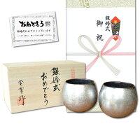 銀婚式 プレゼント 有田焼 ロックグラス ペアー 銀彩しずく ロックカップ のし・メッセージカード付き 木箱入り