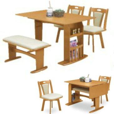 【送料無料】【ベンチが収納できて便利です】テーブル小物収納棚・チェアは回転機能付き
