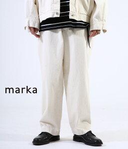 ■【予約商品 2021年1月〜2月入荷予定】marka / マーカ : WORK PANTS - 12oz organic cotton denim - / 全2色 : ワークパンツ 12ozオーガニックコットンデニム デニム パンツ タックイン ハイウエスト セットアップ ストレート メンズ : M21A-04PT01C 【COR】