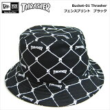 NEWERA×THRASHER/Bucket-01/Thrasher・フェンスプリント(ブラック)