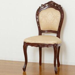 チェアー肘なしネコ脚のイス/一人掛けチェア/インテリアにもなる椅子/リビングや寝室に〔ブラウン/ホワイト〕高級肘掛けなし猫脚ロココロココ調アンティークおしゃれかわいい大人カワイイ姫系【送料無料】