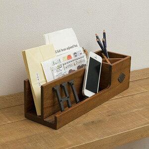 ペンスタンド リモコン収納 リモコンスタンド レターラック 卓上 ペン立て 木製 アンティーク ...