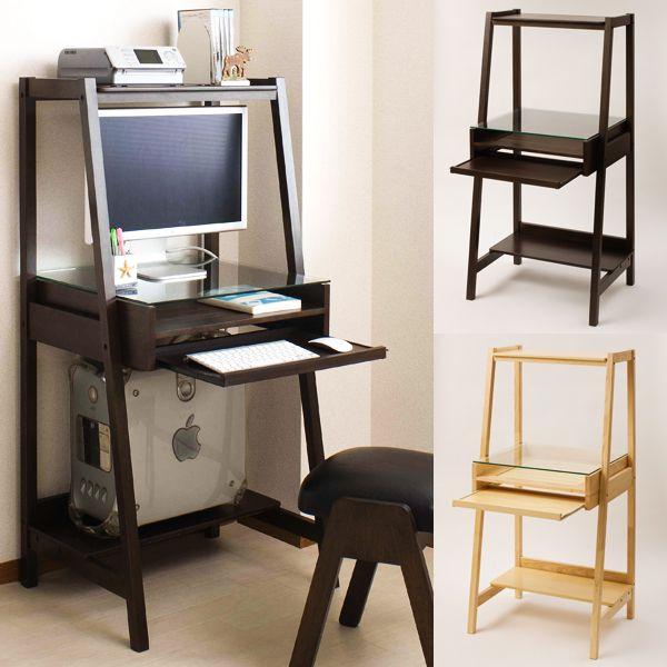 【楽天市場】60cm幅 Pcラック 書斎机 スライド 木製 パソコンデスク アジアンデスク コンパクト シンプル
