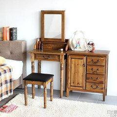 ドレッサー スツール アンティーク デスク 椅子 鏡台 カワイイ 送料無料 木製 引き出し 化…