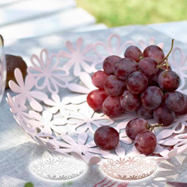 フルーツバスケット フラワーバスケット Natura トレイ ホワイト ピンク 果物皿 皿 トレー カフェ フルーツプレート インテリア お皿 北欧 果物入れ 小物入れ フルーツ収納 テーブルウェア キッチン収納 スチール デザイン かわいい おしゃれ 花柄 花 ナチュラル 白