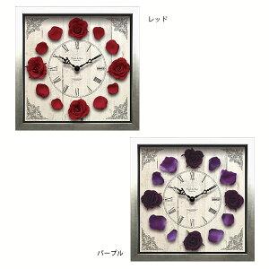 掛け時計 四角 壁時計 デザイン ローズ おしゃれ 壁掛け時計 バラ ばら 薔薇 花 レトロ アンテ...