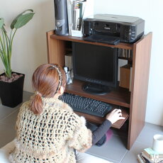 リビングパソコンラックコンパクト机パソコンローデスクプリンター収納パソコンデスクロータイプスライドパソコン台送料無料日本製完成品pcデスクおしゃれ北欧木製デスク机75cm幅ブラウンホワイト白PCラックフロアデスクプリンター台P-00375