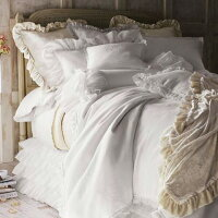 PomPomathomeオードリーコットンベッドスカート/シングルベッド用大人可愛いベッドスカート 布団カバーホワイトフリルベッドスプレッドボックスシーツボックスシーツベッドシーツ白かわいいおしゃれ寝具ホテル