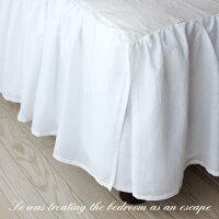 【ベッドスカート(ベットスカート)】ナチュラルフリルベッドスカート/ホワイト/ダブル(ダブルベッド用)(フリル部分46cm)ボトムスカート(ボトムカバー)【福袋C】