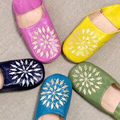 【新色入荷】味わい深い手縫いの刺繍が素敵です!バブーシュ [刺繍入り] 【メール便対応可】