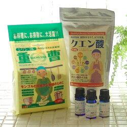【送料無料】アロマクリーニングを始めよう!シリンゴル重曹600g+クエン酸300g+エッセンシャ...