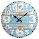 wall clock 壁掛け時計 掛け時計 掛時計 時計壁掛け 壁飾り 壁面デコ ウォールディスプレイオブジェ 34×34 φ34cm アナログ アラビア数字アンティーク風 北欧風 水色 白 西海岸インテリアマリン おしゃれウォールクロック ラウンド ビーチ