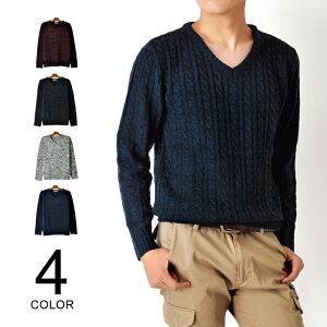 ケーブル編みVネックニットセーター メンズファッション トップス 服【1-Q6D】