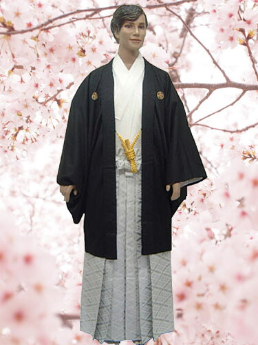 No.112-No.350 Lilianne 黒羽織 ドクロ刺繍 卒業式 成人式 男性用 紋服セット レンタル!