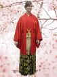 No.2497-No.326 Lilianne 赤羽織 青龍刺繍 黒金糸袴 卒業式 成人式 男性用 紋服セット レンタル!