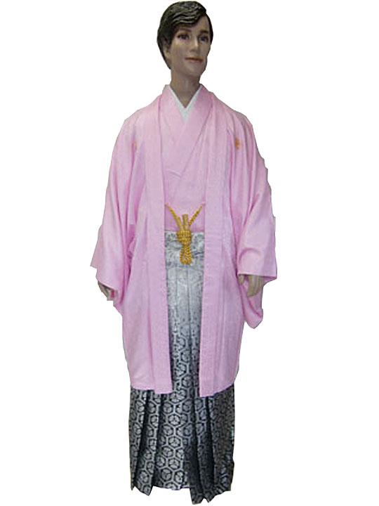 【レンタル】No.111-No.322 Lilianne ピンクJAPAN刺繍 卒業式 成人式 男性用 紋服セット レンタル【店頭受取対応商品】