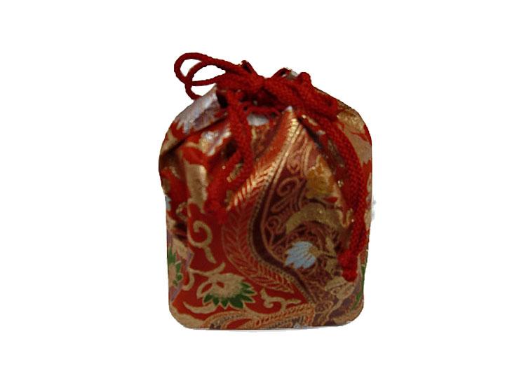 【レンタル】巾着No.9 Lilianne 卒業式 成人式 小物 巾着 赤×ゴールド 花 レンタル品【店頭受取対応商品】