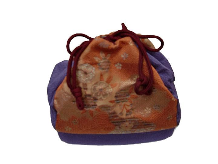 【レンタル】巾着No.16 Lilianne 卒業式 成人式 小物 巾着 紫×オレンジ 花 切り替え レンタル品【店頭受取対応商品】