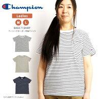 Champion(チャンピオン)ボーダー半袖ポケットTシャツカットソーレディース(cw-p301)
