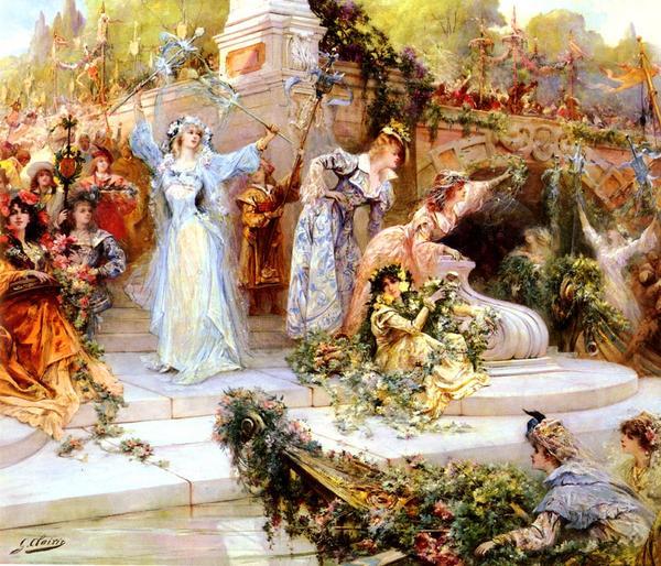 油絵 Clairin Georges Jules Victor_フラワーフェスティバル