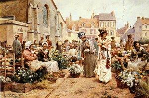 油絵 Glending Jr Alfred Augustus_フランス人街の花市場