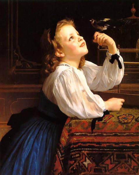 油絵 ウイリアム・ブーグローの名作「鳥さんこんにちは」