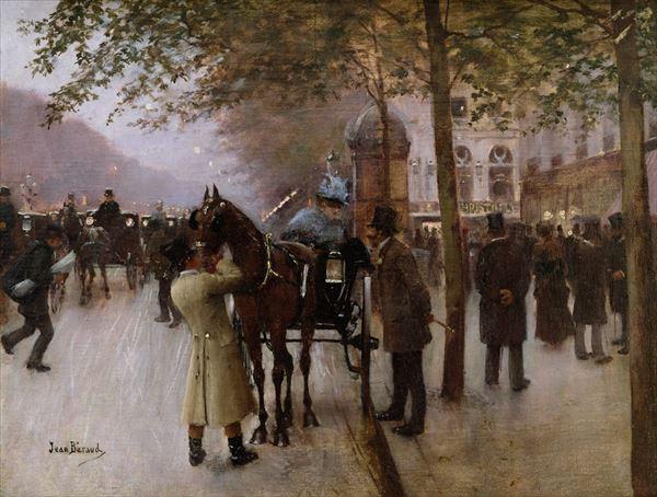 油絵 ジャン・ベロー_ カフェナポリタン前の夕暮れ
