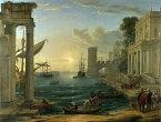 油絵 クロード・ロラン_海港 シバの女王の上陸