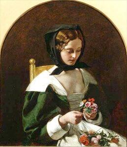 油絵 Augustus Egg_ブーケを作る少女