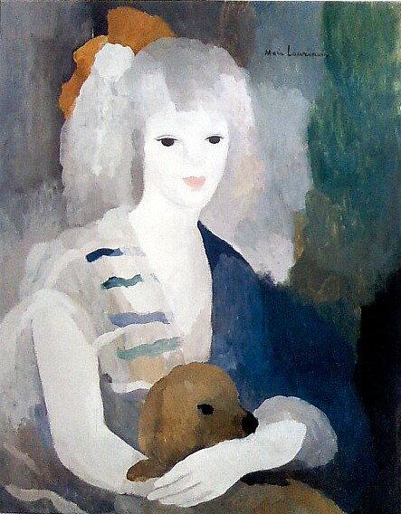 油絵 マリー・ローランサン_女と犬:絵画制作専門アートユーラシア