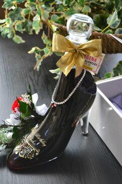 シンデレラシューレッド カシス 誕生日プレゼント名入れ 彫刻 スワロフスキーデコ仕上げ!ブリザーブドフラワー付き 彫刻ボトル 名入れボトル ガラスの靴 リキュール】シンデレラシュー名入れ