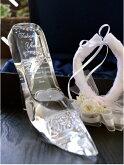 【プロポーズプレゼントアイテム】シンデレラのガラスの靴!ガラスの靴に名入れ記念日を彫刻。リングピロー加工ありブリザーブドフラワー付き【送料無料】ガラスの靴