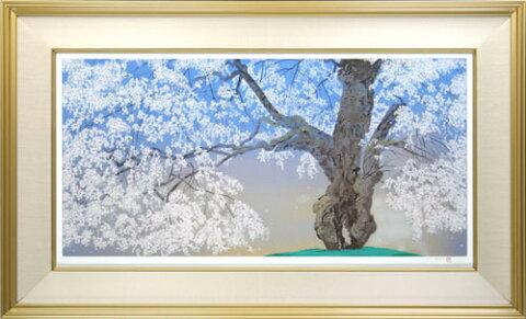 【版画】【中古】 常照皇寺の九重桜 2 シルクスクリーン 本人 鉛筆 サイン 中島千波(Chinami Nakajima)
