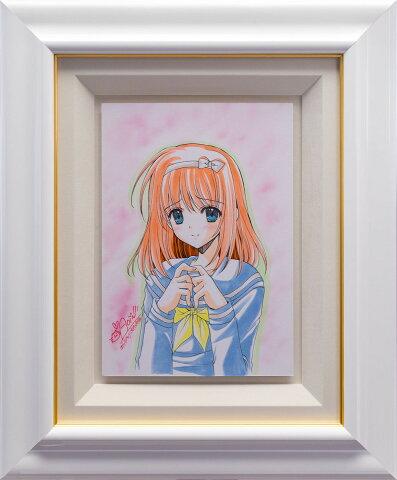 【版画】【中古】 オーダー原画/セーラー服美少女 鉛筆+コピック 本人 ペン サイン 西又葵(Aoi Nishimata)