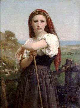 複製画 送料無料 プレミアム 学割 絵画 油彩画 油絵 複製画 模写ウィリアム・ブグロー「羊飼いの少女」 F10(53.0×45.5cm)サイズ プレゼント ギフト 贈り物 名画 オーダーメイド 額付き
