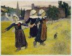 複製画 送料無料 プレミアム 学割 絵画 油彩画 油絵 複製画 模写ポール・ゴーギャン「ブルターニュの3人の少女の輪舞」 F8(45.5×38.0cm) サイズ プレゼント ギフト 贈り物 名画 オーダーメイド 額付き